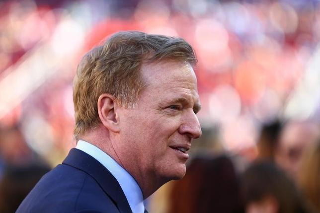 NFL commissioner Roger Goodell is seen on the field before Super Bowl 50 between the Carolina Panthers and the Denver Broncos at Levi's Stadium in Santa Clara, California, February 7, 2016. Mandatory Credit: Mark J. Rebilas-USA TODAY Sports
