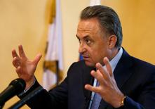 Russian Sports Minister Vitaly Mutko speaks during an interview in Moscow, Russia, May 24, 2016. REUTERS/Sergei Karpukhin