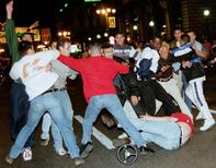 A group of British fans clash with local youths in the streets near the old port of Marseille in the early hours of the morning, June 15. REUTERS