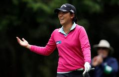 Lydia Ko reacts on the ninth tee during the second round of the KPMG Women's PGA Championship at Sahalee Country Club - South/North Course. Mandatory Credit: Joe Nicholson-USA TODAY Sports