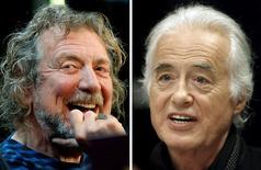 Vocalista do Led Zeppelin, Robert Plant (esquerda), e guitarrista, Jimmy Page, em fotografia combinada.    09/10/2012      21/07/2015       REUTERS/Carlo Allegri, Hans Deryk/File photos