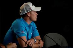 Jun 14, 2016; Oakmont, PA, USA; Danny Willett addresses the media in a press conference during the practice rounds on Tuesday of the 2016 U.S. Open golf tournament at Oakmont CC. Mandatory Credit: Michael Madrid-USA TODAY Sports