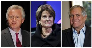 A combination photo shows Jeff Immelt (L), Chairman & CEO of GE, Marillyn Hewson (C), Chairman, President and CEO of Lockheed Martin, and Leslie Moonves (R), President and Chief Executive Officer of CBS Corporation, in file photos.  REUTERS/File Photos