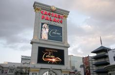 The marquee sign at Caesars Palace displays a welcome to Celine Dion in Las Vegas, Nevada February 16, 2011. REUTERS/Steve Marcus