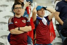 Football Soccer - Russia v Slovakia - EURO 2016 - Group B - Stade Pierre-Mauroy, Lille, France - 15/6/16 Russia fans look dejected REUTERS/Gonzalo Fuentes