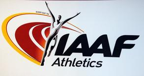 The logo of the International Association of Athletics Federations (IAAF) is seen  in Monaco, March 11, 2016.   REUTERS/Eric Gaillard