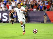 Jun 25, 2016; Glendale, AZ, USA; Colombia forward Carlos Bacca (7) controls the ball against the United States during the third place match of the 2016 Copa America Centenario soccer tournament at University of Phoenix Stadium. Mandatory Credit: Mark J. Rebilas-USA TODAY Sports