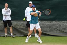 Britain Tennis - Wimbledon Preview - All England Lawn Tennis & Croquet Club, Wimbledon, England - 26/6/16 Great Britain's Andy Murray with coaches Ivan Lendl and Jamie Delgado during practice Reuters / Paul Childs Livepic