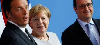 Renzi, Merkel e Hollande durante entrevista em Berlim  27/6/2016 REUTERS/Hannibal Hanschke