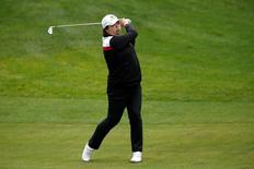Jun 9, 2016; Sammamish, WA, USA; Shanshan Feng hits off the 11th fairway during the first round of the KPMG Women's PGA Championship at Sahalee Country Club - South/North Course. Mandatory Credit: Joe Nicholson-USA TODAY Sports