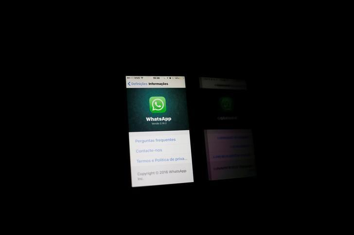An illustration photo shows the Whatsapp application logo on a mobile phone in Rio de Janeiro, Brazil, May 2, 2016. REUTERS/Nacho Doce