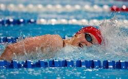 July 1, 2016; Omaha, NE, USA; Katie Ledecky during the women's 800m freestyle preliminary heats in the U.S. Olympic swimming team trials at CenturyLink Center. Mandatory Credit: Erich Schlegel-USA TODAY Sports