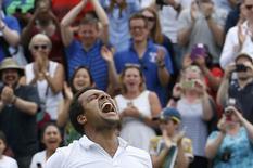 Britain Tennis - Wimbledon - All England Lawn Tennis & Croquet Club, Wimbledon, England - 3/7/16 France's Jo-Wilfried Tsonga celebrates winning his match against USA's John Isner REUTERS/Paul Childs