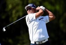 Jun 17, 2016; Oakmont, PA, USA; Hideki Matsuyama hits his tee shot on the 14th hole during the second round of the U.S. Open golf tournament at Oakmont Country Club. Mandatory Credit: John David Mercer-USA TODAY Sports