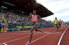 Jul 4, 2016; Eugene, OR, USA; Alysia Montano competes during the women's 800m final in the 2016 U.S. Olympic track and field team trials at Hayward Field. Mandatory Credit: James Lang-USA TODAY Sports