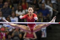 July 8, 2016; San Jose, CA, USA; Aly Raisman, Needham, MA, during the uneven bars in the women's gymnastics U.S. Olympic team trials at SAP Center. Mandatory Credit: Kyle Terada-USA TODAY Sports