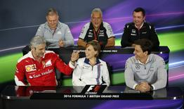 Britain Formula One - F1 - British Grand Prix 2016 - Silverstone, England - 8/7/16 (L-R) Manor's Dave Ryan, Force India's Vijay Mallya, McLaren's Eric Boullier, Ferrari's Maurizio Arrivabene, Williams' Claire Williams and Mercedes' Toto Wolff during the team principal press conference Action Images via Reuters / Matthew Childs Livepic