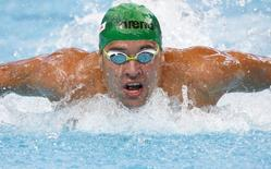 Chad le Clos of South Africa swims in a men's 100m butterfly heat at the Aquatics World Championships in Kazan, Russia, August 7, 2015.     REUTERS/Stefan Wermuth