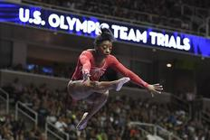 July 10, 2016; San Jose, CA, USA; Simone Biles, from Spring, TX, during the balance beam in the women's gymnastics U.S. Olympic team trials at SAP Center. Mandatory Credit: Kyle Terada-USA TODAY Sports