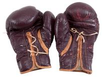 """Boxing gloves worn by Muhammad Ali during his March 8, 1971 """"Fight of the Century"""" in Madison  Square Garden against Joe Frazier are pictured in this undated handout photo obtained by Reuters July 11, 2016. Goldin Auctions/Handout via REUTERS"""
