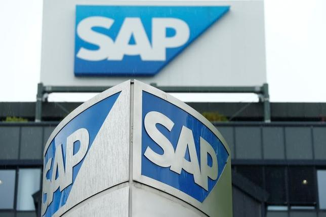 The logo of German software group SAP is pictured at its headquarters in Walldorf, Germany, May 12, 2016. REUTERS/Ralph Orlowski/File Photo