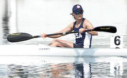 Jul 11, 2015; Welland, Ontario, CAN; Maggie Hogan after placing third in the women's K1 500m heats during the 2015 Pan Am Games at Welland Pan Am Flatwater Centre. Mandatory Credit: Eric Bolte-USA TODAY Sports