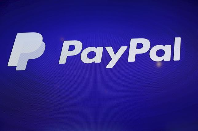 The PayPal logo is seen during an event at Terra Gallery in San Francisco, California May 21, 2015.  REUTERS/Robert Galbraith/File Photo