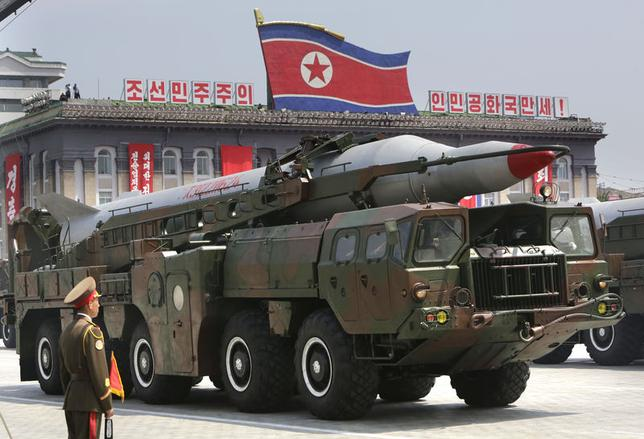 A missile is carried by a military vehicle during a parade to commemorate the 60th anniversary of the signing of a truce in the 1950-1953 Korean War, at Kim Il-sung Square in Pyongyang in this July 27, 2013 file photo. REUTERS/Jason Lee
