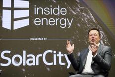 FILE PHOTO --  Elon Musk, chairman of SolarCity and CEO of Tesla Motors, speaks at SolarCity's Inside Energy Summit in Manhattan, New York October 2, 2015.   REUTERS/Rashid Umar Abbasi