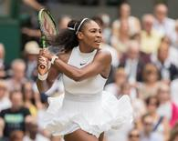Jul 9 2016; London, United Kingdom; Serena Williams (USA) during her match against Angelique Kerber (GER) on day 13 of the 2016 The Championships Wimbledon. Mandatory Credit: Susan Mullane-USA TODAY Sports