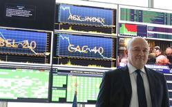 Stéphane Boujnah, président du directoire d'Euronext. L'opérateur des Bourses d'Amsterdam, de Bruxelles, de Lisbonne et de Paris annonce une hausse de près de 13% de son résultat opérationnel au deuxième trimestre à la faveur d'une réduction de ses charges d'exploitation. /Photo prise le 4 mai 2016/REUTERS/Jacky Naegelen