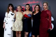 """Cast members (L-R) Kathryn Hahn, Kristen Bell, Mila Kunis, Annie Mumolo and Christina Applegate pose at the premiere of """"Bad Moms"""" in Los Angeles, California U.S., July 26, 2016. REUTERS/Mario Anzuoni"""
