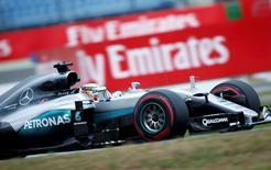 Germany Formula One - F1 - German Grand Prix 2016 - Hockenheimring, Germany - 29/7/16 - Mercedes' Lewis Hamilton attends the practice. REUTERS/Ralph Orlowski