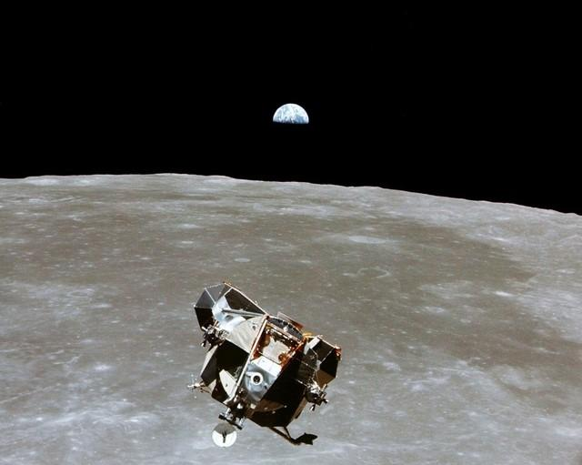 The Apollo 11 Lunar Module ascent stage, with astronauts Neil A. Armstrong and Edwin E. Aldrin Jr. aboard, is photographed from the Command and Service Modules in lunar orbit in this July, 1969 file photo.   Photo courtesy of NASA/Handout via REUTERS
