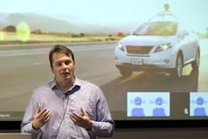 Chris Urmson, Director of the Self Driving Cars Project at Google, speaks to the media during a preview of Google's prototype autonomous vehicles in Mountain View, California September 29, 2015.  REUTERS/Elijah Nouvelage/File Photo
