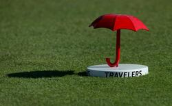Aug 4, 2016; Cromwell, CT, USA; A Travelers Championship tee marker during the first round of the 2016 Travelers Championship golf tournament at TPC River Highlands. Mandatory Credit: Bill Streicher-USA TODAY Sports