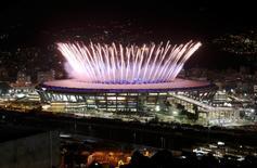 2016 Rio Olympics - Opening Ceremony - Maracana - Rio de Janeiro, Brazil - 05/08/2016. The Maracana Olympic Stadium during the opening ceremony is seen from the Mangueira favela. REUTERS/Pilar Olivares