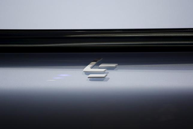 A sign is seen on all-electric battery ''concept'' car called LeSEE as it's unveiled by Jia Yueting (unseen), co-founder and head of Le Holdings Co Ltd, also known as LeEco and formerly as LeTV during a ceremony in Beijing, China April 20, 2016.   REUTERS/Damir Sagolj