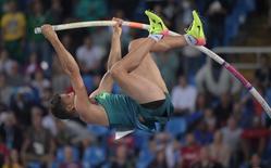 Thiago Braz durante prova de salto com vara na Rio 2016.      15/08/2016   Kirby Lee-USA TODAY Sports