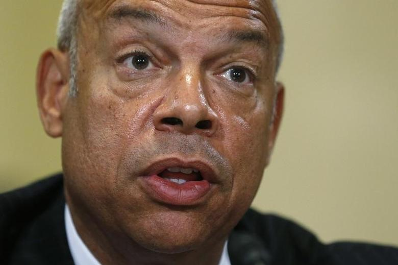 U.S. Homeland Security Secretary Jeh Johnson testifies before a House Homeland Security Committee hearing on Capitol Hill in Washington, U.S. July 14, 2016.  REUTERS/Jonathan Ernst - RTSHXDX
