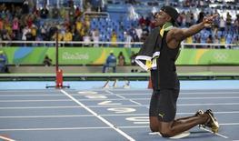 Usain Bolt comemora medalha de ouro no revezamento 4x100m com a Jamaica na Rio 2016 20/08/2016 REUTERS/Phil Noble