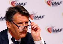 IAAF President Sebastian Coe attends a news conference after the International Association of Athletics Federations (IAAF) council meeting in Vienna, Austria, June 17, 2016.  REUTERS/Leonhard Foeger