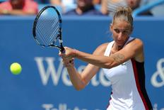 Aug 21, 2016; Mason, OH, USA; Karolina Pliskova (CZE) returns a shot against Angelique Kerber (GER) in the finals during the Western and Southern tennis tournament at Linder Family Tennis Center. Mandatory Credit: Aaron Doster-USA TODAY Sports