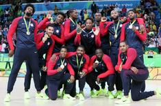 Aug 21, 2016; Rio de Janeiro, Brazil; USA celebrates winning the gold medal in the men's basketball gold medal match during the Rio 2016 Summer Olympic Games at Carioca Arena 1. Mandatory Credit: David E. Klutho-USA TODAY Sports