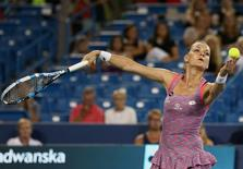 Aug 18, 2016; Mason, OH, USA; Agnieszka Radwanska (POL) serves against Johanna Konta (GBR) on day six during the Western and Southern tennis tournament at Linder Family Tennis Center. Mandatory Credit: Aaron Doster-USA TODAY Sports - RTX2LYGQ