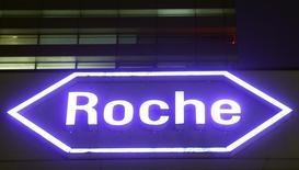 Swiss drugmaker Roche's logo is seen at their headquarters in Basel, Switzerland January 28, 2016. REUTERS/Arnd Wiegmann