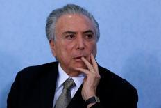 Presidente interino Michel Temer durante cerimônia no Palácio do Planalto em Brasília 25/08/2016 REUTERS/Ueslei Marcelino