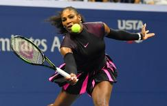 Serena Williams of the USA hits to Ekaterina Makarova of Russia on day two of the 2016 U.S. Open tennis tournament at USTA Billie Jean King National Tennis Center. Mandatory Credit: Robert Deutsch-USA TODAY Sports