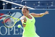 Aug 31, 2016; New York, NY, USA; Roberta Vinci of Italy returns a shot to Christina McHale of the United States on day three of the 2016 U.S. Open tennis tournament at USTA Billie Jean King National Tennis Center. Mandatory Credit: Anthony Gruppuso-USA TODAY Sports