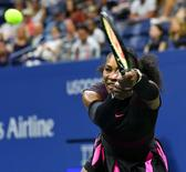Aug 30, 2016; New York, NY, USA; Serena Williams of the USA hits to Ekaterina Makarova of Russia on day two of the 2016 U.S. Open tennis tournament at USTA Billie Jean King National Tennis Center. Mandatory Credit: Robert Deutsch-USA TODAY Sports
